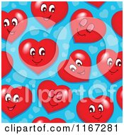 Cartoon Of A Seamless Valentines Day Pattern With Red Hearts On Blue Royalty Free Vector Clipart by visekart