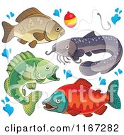 Cartoon Of River Fish Waters Splashes And A Fishing Bob Royalty Free Vector Clipart