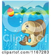 Cartoon Of A River Fish And Fishing Hook And Bobber Royalty Free Vector Clipart by visekart