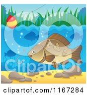 Cartoon Of A River Fish And Fishing Hook And Bobber 2 Royalty Free Vector Clipart by visekart