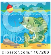 Cartoon Of A River Bass Fish And Fishing Hook And Bobber 3 Royalty Free Vector Clipart by visekart