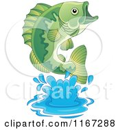 Cartoon Of A Leaping Green Bass Fish Royalty Free Vector Clipart by visekart