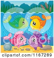 Cartoon Of A Group Of Colorful Freshwater Fish Royalty Free Vector Clipart