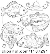 Cartoon Of Outlined River Fish And A Fishing Bob Royalty Free Vector Clipart