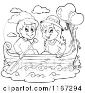 Cartoon Of An Outlined Happy Couple With Valentine Balloons In A Boat Royalty Free Vector Clipart