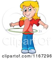 Cartoon Of A Blond Girl Playing With A Hula Hoop Royalty Free Vector Clipart by visekart
