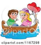 Cartoon Of A Happy Couple With Valentine Balloons In A Boat Royalty Free Vector Clipart