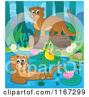 Cartoon Of A Frog And Two Otters On A River Royalty Free Vector Clipart by visekart