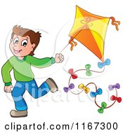 Cartoon Of A Happy Boy Running With A Kite Royalty Free Vector Clipart by visekart