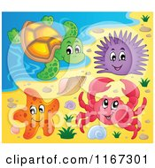 Cartoon Of A Crab Starfish Sea Urchin And Turtle On A Beach Royalty Free Vector Clipart by visekart