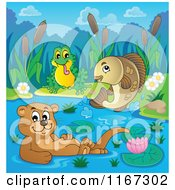 Cartoon Of A Leaping Fish Floating Otter And Frog On A River Royalty Free Vector Clipart by visekart