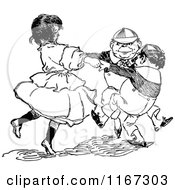 Clipart Of Retro Vintage Black And White Alice Dancing With Tweedledee And Tweedledum Royalty Free Vector Illustration