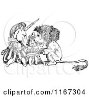 Clipart Of A Retro Vintage Black And White Alice In Wonderland Unicorn King And Lion Royalty Free Vector Illustration