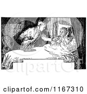 Clipart Of A Retro Vintage Black And White Boy Being Woken Up Royalty Free Vector Illustration