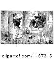 Retro Vintage Black And White School Boys By A Door