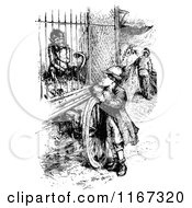 Clipart Of A Retro Vintage Black And White Boy Watching A Monkey In A Cage Royalty Free Vector Illustration
