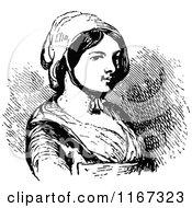 Retro Vintage Black And White Woman Wearing A Bonnet