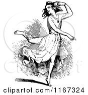 Clipart Of A Retro Vintage Black And White Woman Dancing Royalty Free Vector Illustration