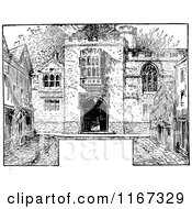 Clipart Of A Retro Vintage Black And White Castle Courtyard And Copyspace Royalty Free Vector Illustration