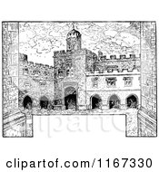 Clipart Of A Retro Vintage Black And White Fortress With Copyspace Royalty Free Vector Illustration