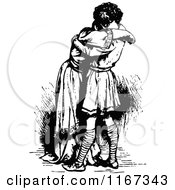 Clipart Of A Retro Vintage Black And White Young Couple Hugging Royalty Free Vector Illustration