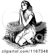 Clipart Of A Retro Vintage Black And White Girl Kneeling In Prayer Royalty Free Vector Illustration by Prawny Vintage