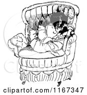 Clipart Of A Retro Vintage Black And White Girl And Cat In A Chair Royalty Free Vector Illustration
