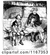 Clipart Of A Retro Vintage Black And White Mother And Children Sitting Royalty Free Vector Illustration