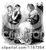 Clipart Of Retro Vintage Black And White Children Begging To Their Grandmother Royalty Free Vector Illustration