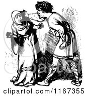 Clipart Of A Retro Vintage Black And White Man Slapping His Wife Royalty Free Vector Illustration