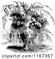 Clipart Of A Retro Vintage Black And White Vase Of Flowers Royalty Free Vector Illustration