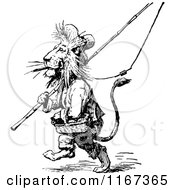 Clipart Of A Retro Vintage Black And White Male Lion With Fishing Gear Royalty Free Vector Illustration