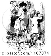Clipart Of A Retro Vintage Black And White Father Chastising His Son Royalty Free Vector Illustration