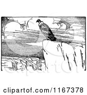 Clipart Of A Retro Vintage Black And White Condor On A Cliff Royalty Free Vector Illustration by Prawny Vintage