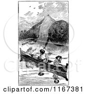 Clipart Of Retro Vintage Black And White Men In A Canoe Royalty Free Vector Illustration
