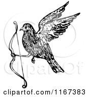 Clipart Of A Retro Vintage Black And White Bird Flying With A Bow Royalty Free Vector Illustration by Prawny Vintage