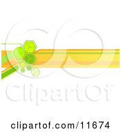 Internet Web Banner With Green Cubes And Orange Lines