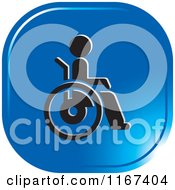 Clipart Of A Blue Medical Wheelchair Icon Royalty Free Vector Illustration by Lal Perera