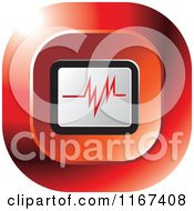 Clipart Of A Red Medical Cardiogram Icon Royalty Free Vector Illustration