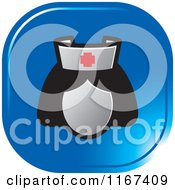 Clipart Of A Blue Medical Nurse Icon Royalty Free Vector Illustration by Lal Perera