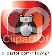 Clipart Of A Red Medical Nurse Icon Royalty Free Vector Illustration by Lal Perera