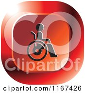 Clipart Of A Red Medical Wheelchair Icon Royalty Free Vector Illustration by Lal Perera