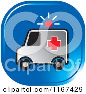 Clipart Of A Blue Medical Ambulance Icon Royalty Free Vector Illustration by Lal Perera