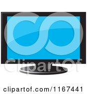 Clipart Of A Television With A Black Frame Royalty Free Vector Illustration