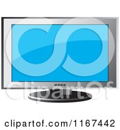 Clipart Of A Television With A Silver Frame Royalty Free Vector Illustration