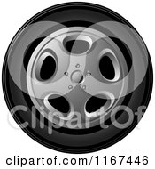 Clipart Of A Car Tire And Rim Royalty Free Vector Illustration by Lal Perera