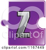 Clipart Of A Purple Jigsaw Puzzle Piece Letter Z Royalty Free Vector Illustration by Lal Perera