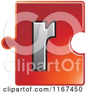 Clipart Of A Red Jigsaw Puzzle Piece Letter R Royalty Free Vector Illustration by Lal Perera