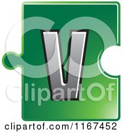 Clipart Of A Green Jigsaw Puzzle Piece Letter V Royalty Free Vector Illustration by Lal Perera