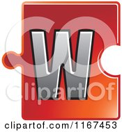 Clipart Of A Red Jigsaw Puzzle Piece Letter W Royalty Free Vector Illustration by Lal Perera